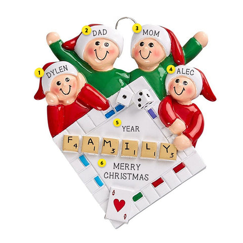 Family Game Night Family of 4 Personalized Resin Christmas Ornament