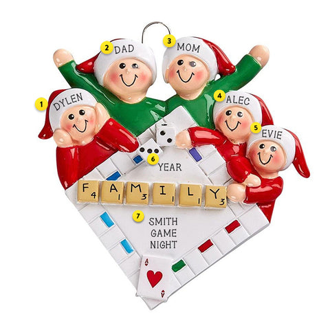 Family of 5 Game Night Christmas Tree Ornament