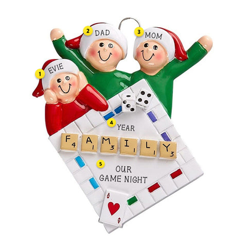 Family of 3 Game Night Christmas Tree Ornament