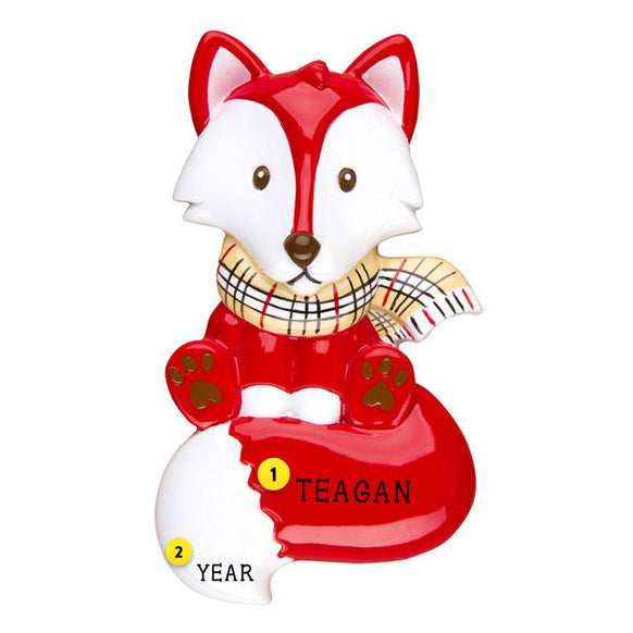 Fox Christmas Ornament Personalized