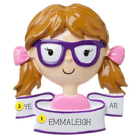 Personalized Glasses Ornament - Female For Your Tree