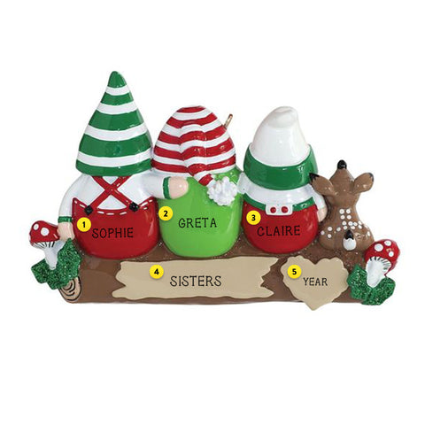 Gnome family of 3 Christmas Tree Ornament