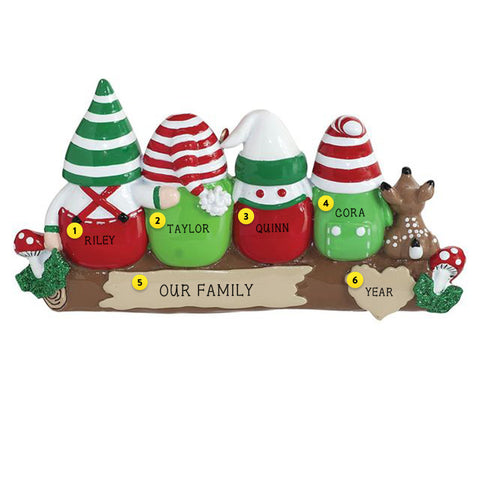 Gnome family of 4 Christmas Tree Ornament