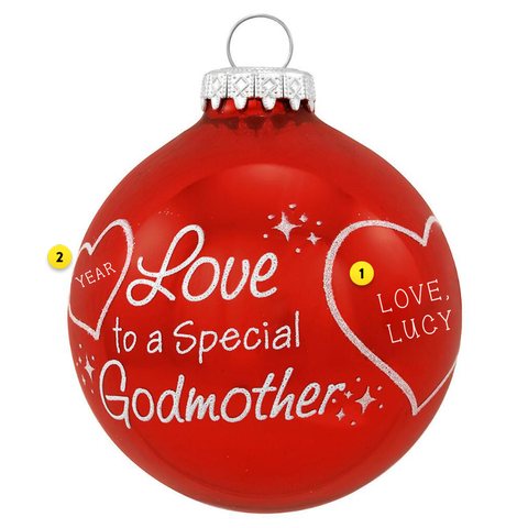 Godmother Glass Christmas Ornament Personalized