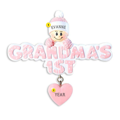 Grandma's 1st Christmas Pink resin personalized ornament