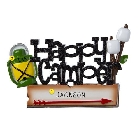 Happy Camper Camping resin ornament with lantern and marshmallows