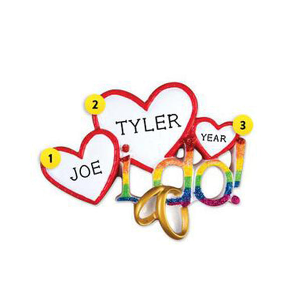 """I Do"" Rainbow Hearts Christmas Ornament"