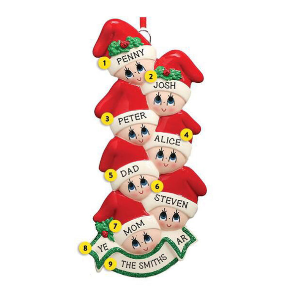 Stocking Cap Family of 7 Ornament for Christmas Tree