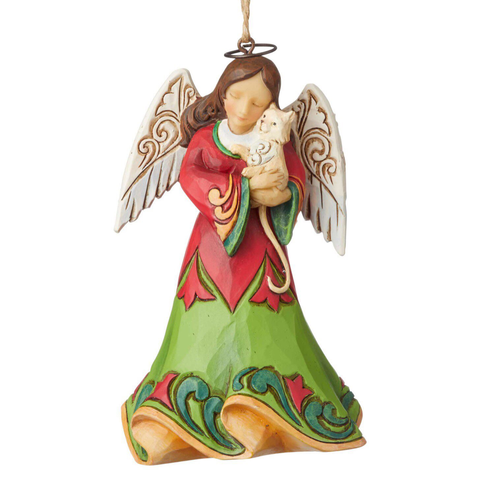 Angel Holding Kitten Ornament For Christmas Tree
