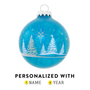 Tree and Star Blue Glass Ornament
