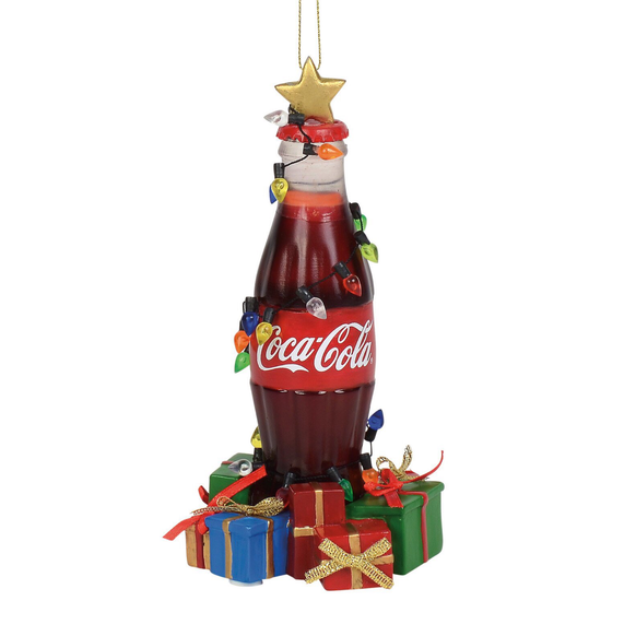 Musical Coca Cola Bottle with gifts around bottom ornament