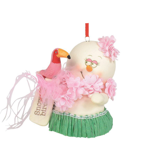 Adorable snowman with grass skirt and flamingo Snow Birds resin ornament