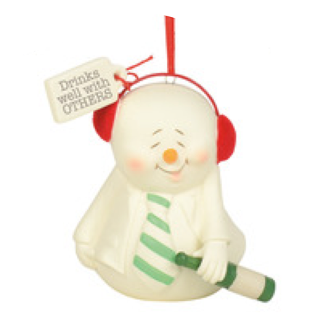 Drinks well with others snowpinion snowman ornament