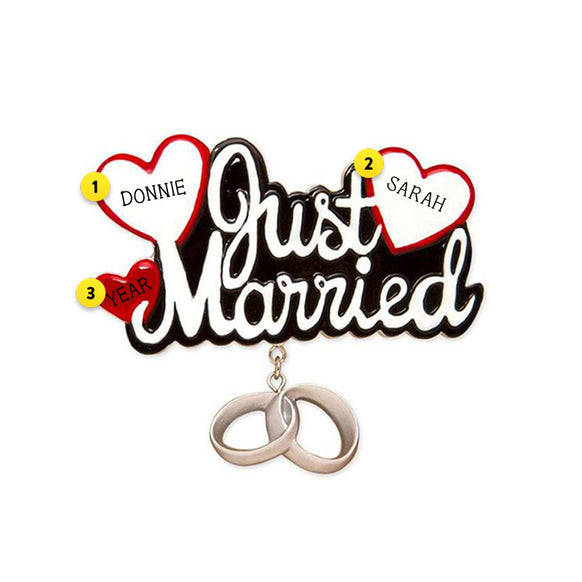 """Just Married"" Christmas Ornament"