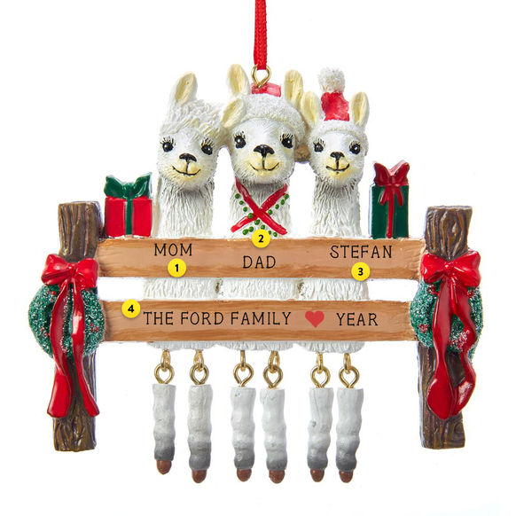 Llama Family of 3 Ornament For Christmas Tree