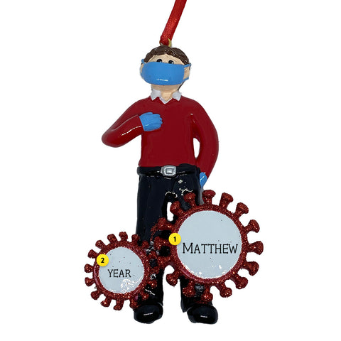 Man wearing mask and gloves coronavirus personalized ornament
