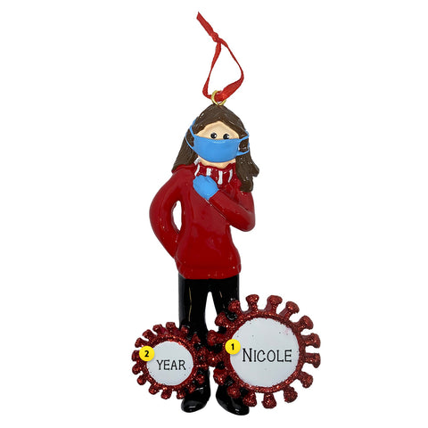 Woman wearing mask and gloves coronavirus personalized ornament