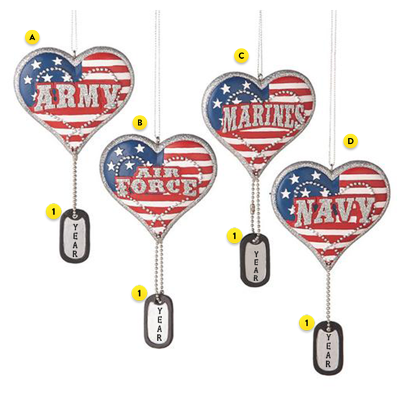 Military Service Heart with Dog Tag Ornament for Christmas Tree
