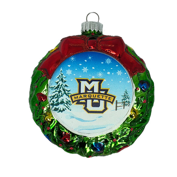 Marquette University Wreath Personalized Christmas Ornament