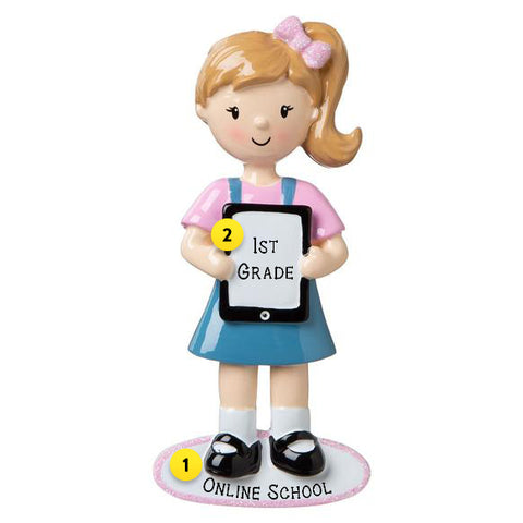 Girl with Ipad or Tablet ornament