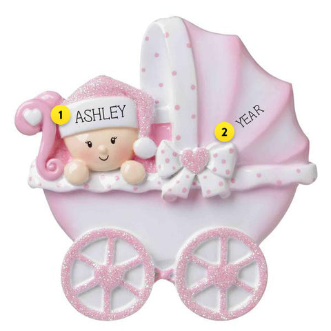 Baby Girl's 1st Christmas Carriage Ornament for your tree