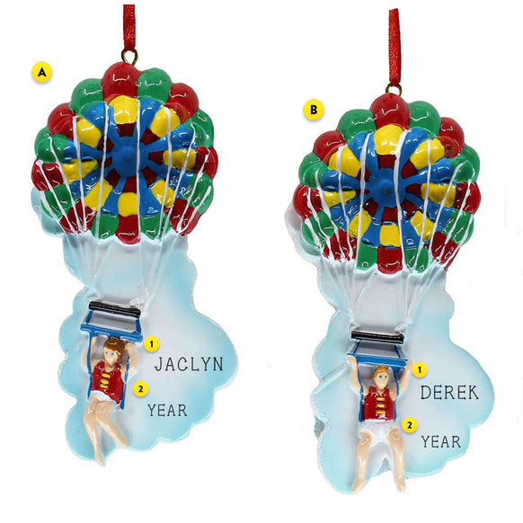 Parasailing Christmas Ornament in Female or Male version