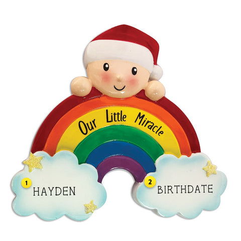 Rainbow Baby Christmas Ornament with Our Little Miracle Saying