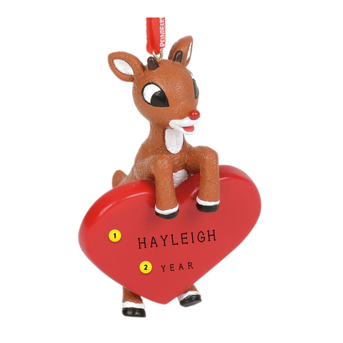 Rudolph with Red Heart to be Personalized ornament