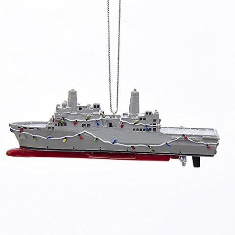 Navy Ship Christmas Ornament