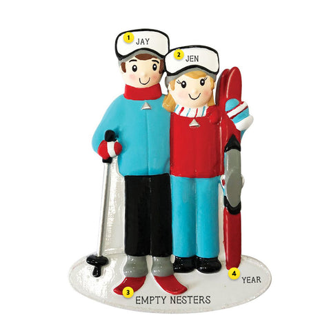 Snow Skiing Couple personalized resin ornament