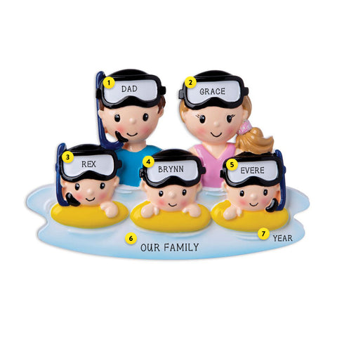 Family of 5 Snorkeling Personalized Resin Christmas Ornament