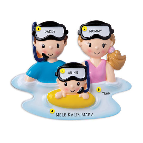 Snorkeling Family of 3 resin personalized ornament