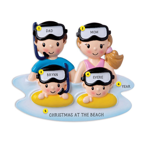 Snorkeling Family of 4 personalized resin ornament