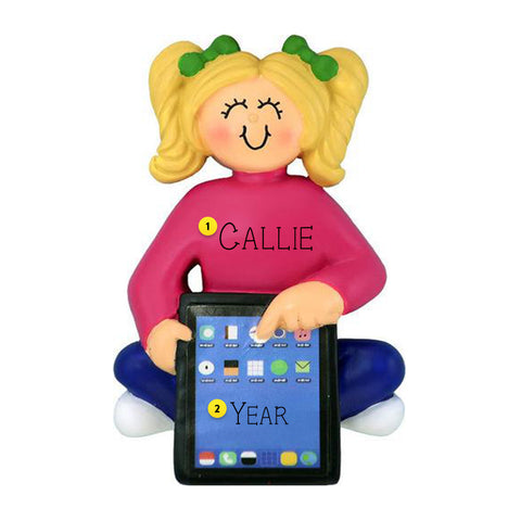 Girl with Tablet Ornament-Blonde