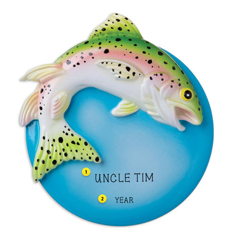 Rainbow Trout resin personalized ornaments