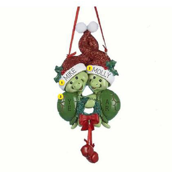 Turtle Couple Christmas Ornament