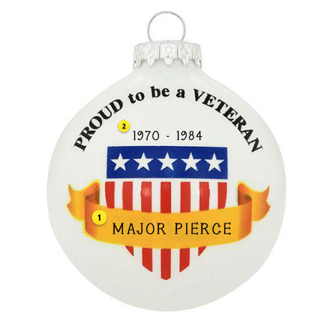 proud to be a veteran glass ornament