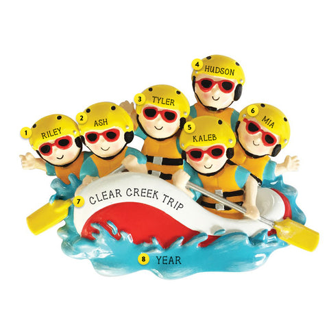 White Water Rafting Family of 6 personalized resin ornament
