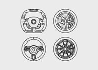 Ferrari and Porsche steering wheels and wheels
