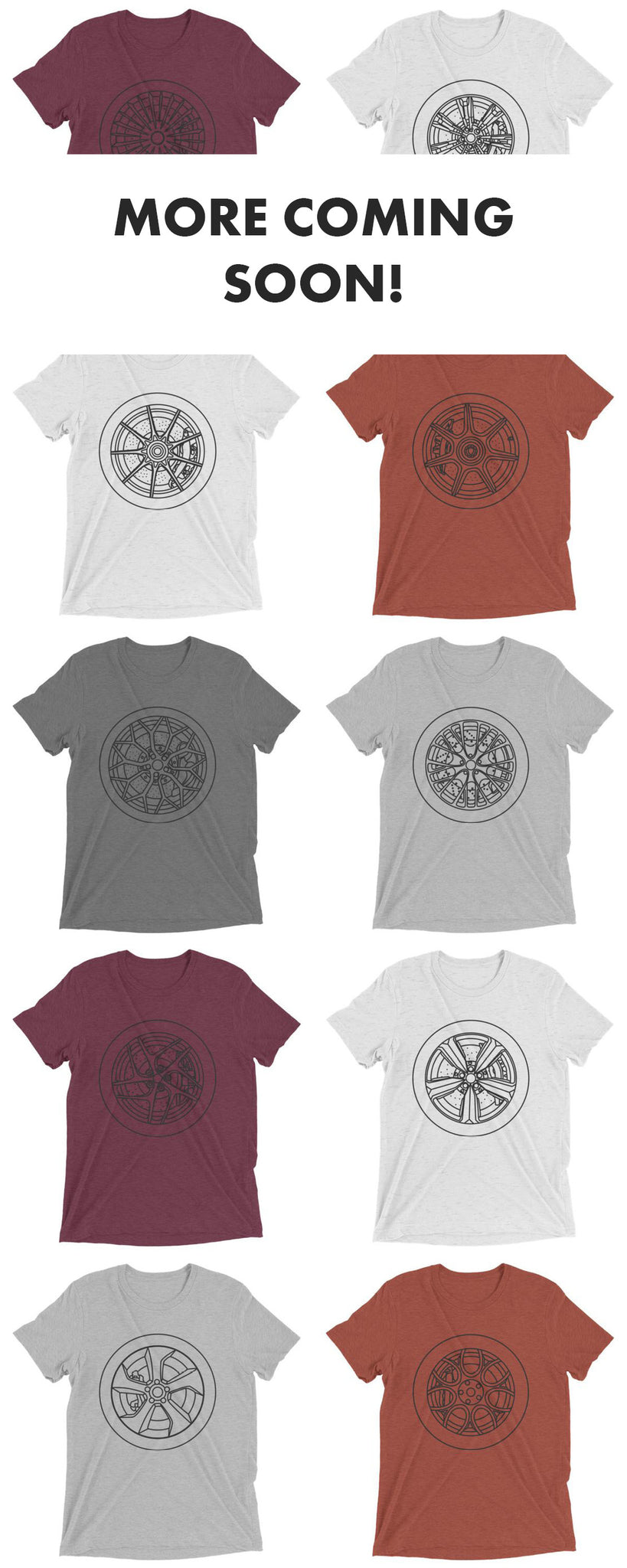 Minimal car wheel t-shirts now available on Artlines Design.