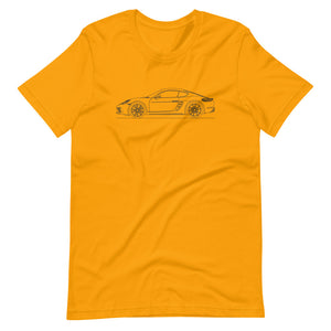 Porsche Cayman S 718 T-shirt Gold - Artlines Design