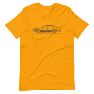 BMW E32 750iL T-shirt Gold - Artlines Design