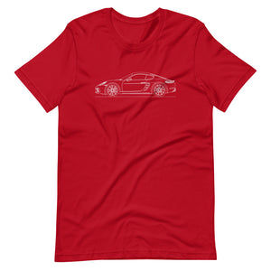 Porsche Cayman S 718 T-shirt Red - Artlines Design