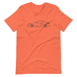 Porsche Cayman S 718 T-shirt Heather Orange - Artlines Design