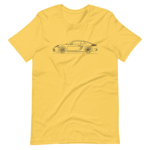 Porsche Cayman S 718 T-shirt Yellow - Artlines Design
