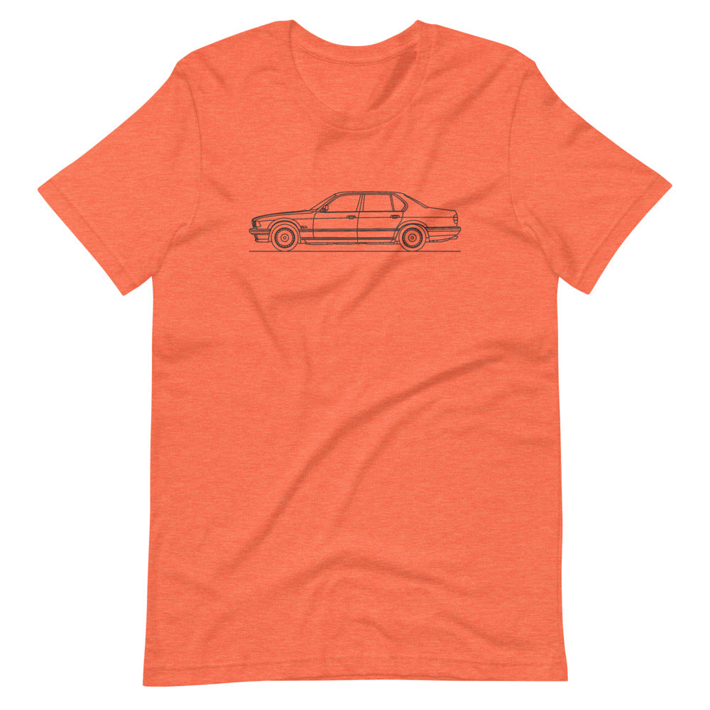 BMW E32 750iL T-shirt Heather Orange - Artlines Design