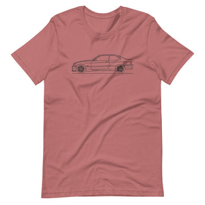 BMW E36 M3 T-shirt Mauve - Artlines Design