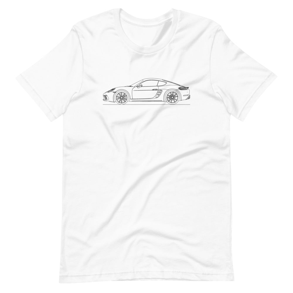 Porsche Cayman S 718 T-shirt White - Artlines Design