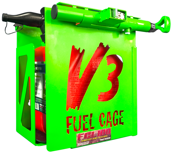 FCL100- 5 Gal. Fuel Cage Lockable Gas Can Rack for Open and Enclosed Trailers - TrailerRacks.com
