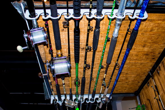 FD011-Piranha Overhead/Wall Mount Fishing Rod Rack